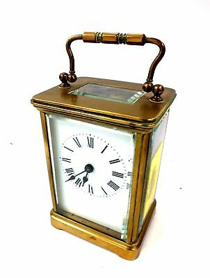 Vintage/Antique Brass Metal Mantel Carriage Clock Marked J.F. 14cm - S60