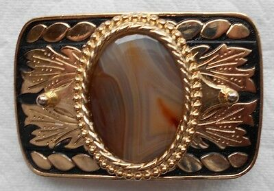 Western Style Cowboy/Cowgirl Belt Buckle With Brazilian Agate Cabochon Stone