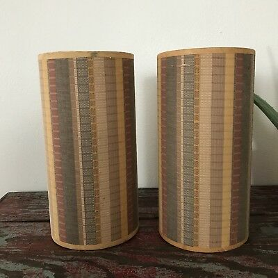 Vintage 50s Mid Century Modern Lamp Shade Pair Striped Fabric Tall Narrow