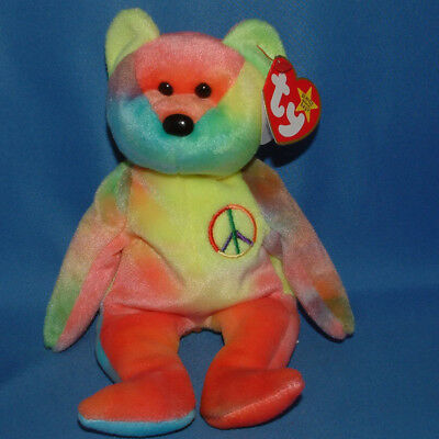 Ty Beanie Baby peace - MWMT (Bear Neon colors) colors will Vary - Our Choice