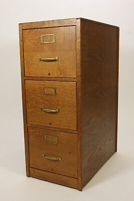 Antique Three Drawer File Cabinet Tiger Oak Dovetail Construction Brass Pulls