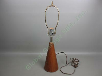 Vtg Mid-Century Danish Modern Retro Conical Teak Wood Base Cone Table Lamp NR!
