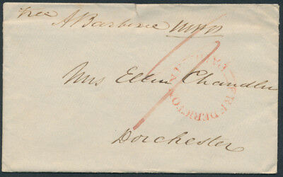 1849 Stampless Fredericton to Dorchester NB, Paid 9, House of Assembly Seal
