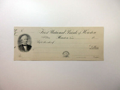 First National Bank of Houston ca.1900 (1880s Style) Proof Check Houston TX ABNC