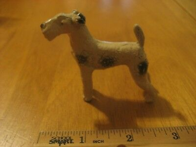 Vintage Heavy Airedale Or Wire Fox Terrier Dog Figurine White Adorable