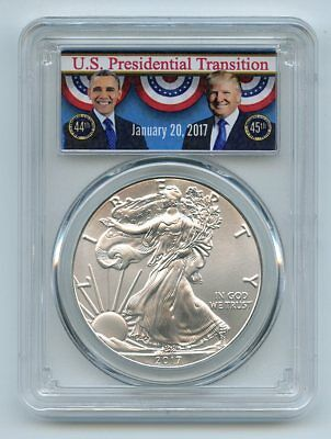 2017 $1 American Silver Eagle PCGS MS69 First Strike Obama/Trump Transition