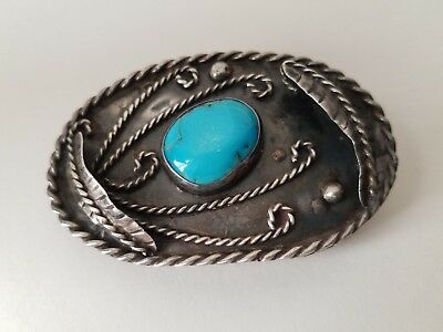 Vtg Native American Sterling Silver Turquoise Hand Crafted Belt Buckle Old Pawn