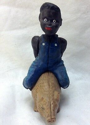 vintage Black Americana Boy riding Pig Cast Iron Still Bank