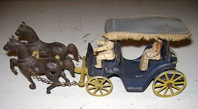 Vintage Old Antique Cast Iron Horse Drawn Buggy Stanley Canopy Toy Carriage