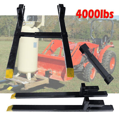4000lb Clamp on Heavy Duty Pallet Forks and adjustable Stabilizer Bar for Loader