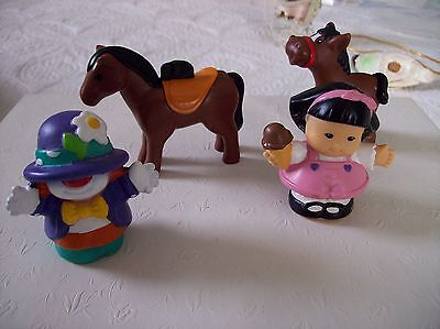 Reduced Lot of 4 Fisher Price Little People (Clown, Girl, two Horses)