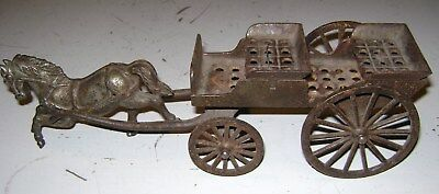 Vintage Old Antique Cast Iron Horse Drawn Wagon Carriage Buggy Part Restore Toy