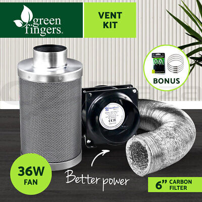 "Greenfingers 6""Hydroponics Grow Tent Kit Ventilation Kit Fan Carbon Filter Duct"