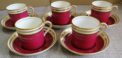 5 George Jones Crescent Red and Embossed Gilt Demitasse Coffee Cans