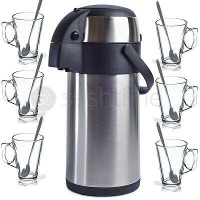 5L S/steel Airpot Hot Tea Coffee Vacuum Flask Thermos + 6 Latte Glasses & Spoons