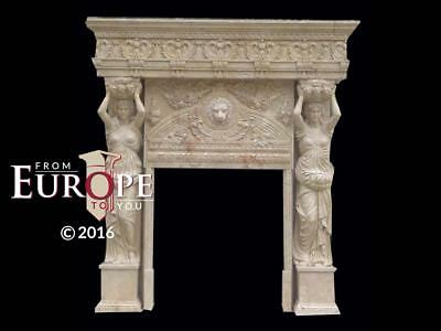 Hand Carved Figurative Solid  Travertine Marble Fireplace Mantel - Mfmn74