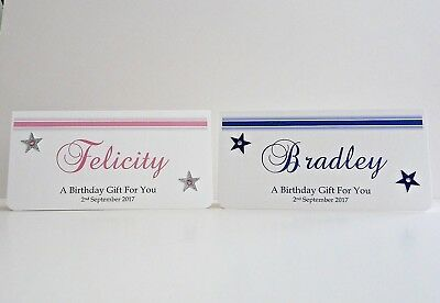 Birthday Money/Gift/Voucher Wallet Blue or Pink Girl Boy Personalised