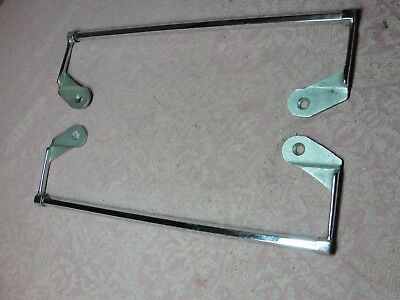 Vintage Pair Chrome Plated Brass Lavatory Sink Towel Bar Architectural Salvage