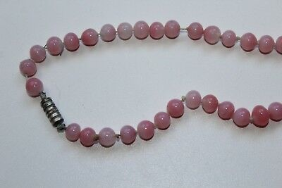 Ancien collier en perles de quartz rose longueur 118 cm diamètre 5 mm