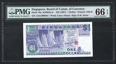 Singapore Ship Series $1 Paper Banknote Low Serial Numbers 000044 PMG 66 EPQ