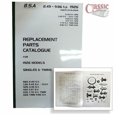 BSA 1926 Parts Book All Models