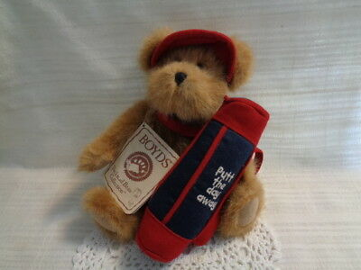 "Boyds Bears ""holen One"" Bear With Golf Bag ""putt The Day Away"""