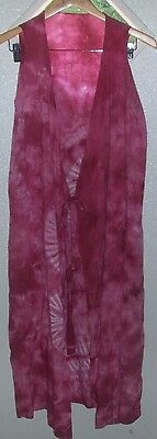 Women's Pink & White Tie Dyed Long Vest Size  M