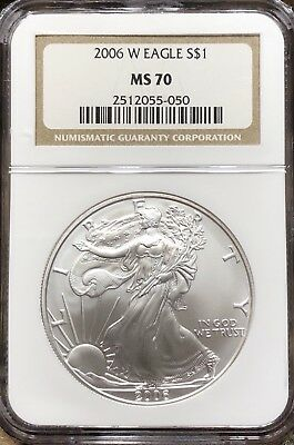 2006-W (Burnished) Silver American Eagle MS-70 NGC - Original Brown Label!