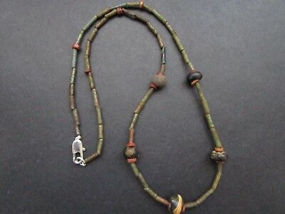 NILE  Ancient Faience Amulet Mummy Bead Necklace ca 600 BC