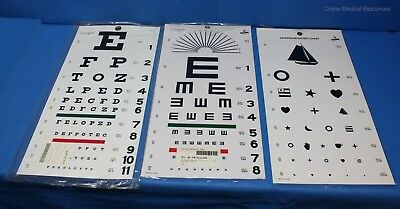 Graham-Field Snellen Kindergarten Illiterate Plastic Eye Charts 1240 1241 1243
