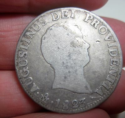 1823 JM (MEXICO) 2 REALES (ITURBIDE) SILVER VERY SCARCE YEAR (2 year type coin)