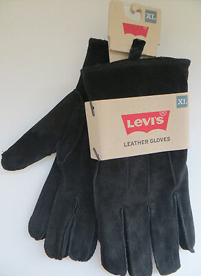 Levi's Men's Black Suede Leather Winter Gloves Sz XL Shearling Lining NEW w/tag