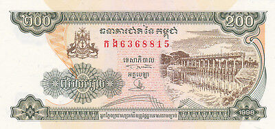 200 Riels Aunc-Unc Banknote From Cambodia 1995!pick-42