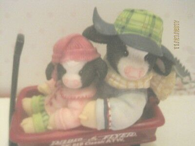 Enesco Mary's Moo Moos OH WHAT FUN IT IS TO RIDE  KIDS IN WAGON FIGURINE