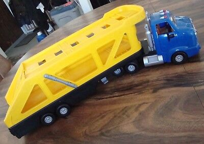 1998 The Chevron Cars CARY CARRIER Yellow Blue Semi Car Carrier Truck #14