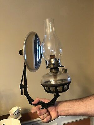 Antique Oil Lamp With  Wall Bracket And Mercury Glass Reflector
