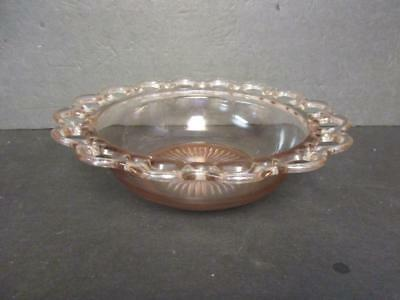 """VINTAGE 1930,s  OLD COLONY """"OPEN LACE EDGE"""" Pink 9 1/2"""" Bowl"""