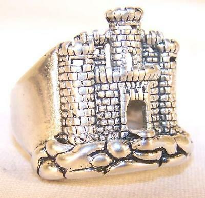 quality  MEDIEVAL OLD CASTLE SILVER BIKER RING BR38R jewelry NEW mens CASTLES