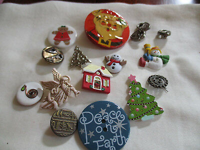 Vintage Buttons With Locks,keys, Plus Christmas Type  That Are Not Old