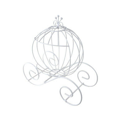 Metal Wire Pumpkin Coach, White