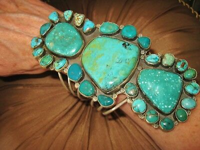 NAVAJO LYDIA BEGAY BRACELET - So Many Teal Turquoise, Sterling Silver, 155 grams