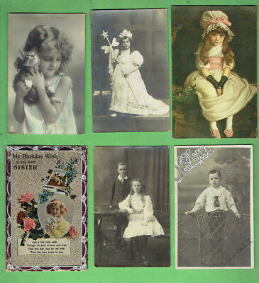 #d353.  #1.  Lot Of Six (6) Childrens Fashion Postcards