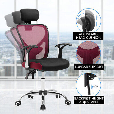 Adjustable Breathable Ergo Mesh Office Computer Chair w/Lumbar Support BK & RD