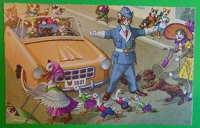 Hartung Humanized Cats/Clothes Postcard-Duck Family Cross Yellow Car-Pet Dog