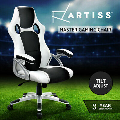 Artiss Gaming Office Chair Computer Chairs Leather Seat Racer Racing Black White
