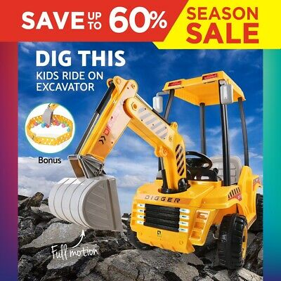 RIGO Kids Ride On Digger Electric Tractor Loader Bulldozer Excavator Toy Battery