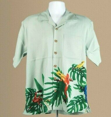 Tim Cotterill Silk Campshirt Rainforest Sage Hawaiian Style Shirt, Sz S; Xl. New