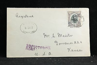 Tonga: 1924 Registered Cover to Kansas, USA ~ Single Use