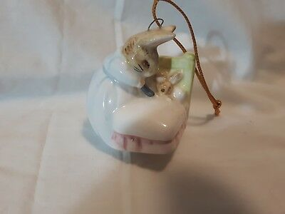SCHMID 1989 Beatrix Potter Peter Rabbit tucked into bed small glass ornament