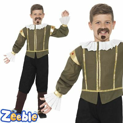 Boys Shakespeare Costume Kids Tudor Medieval Fancy Dress Historical Outfit